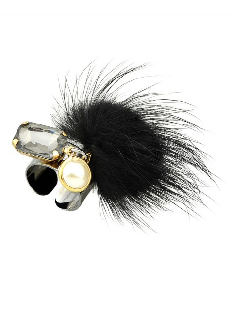 womens Fuzzy Ball Cuff Ring -   Mobile