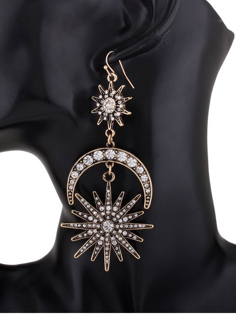 unique Crescent Floral Rhinestone Drop Earrings - SILVER  Mobile