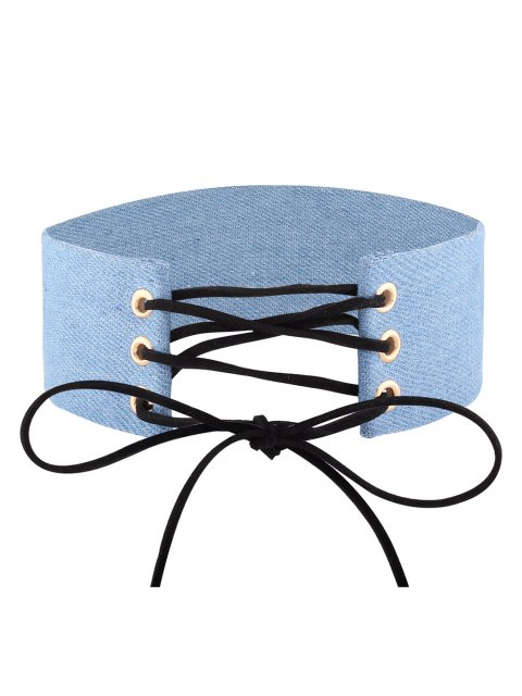 fashion Adjustable Bowknot Denim Choker Necklace - #01  Mobile