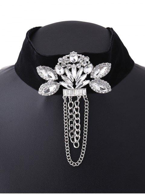 sale Faux Gem Velvet Chain Tassel Necklace - WHITE  Mobile