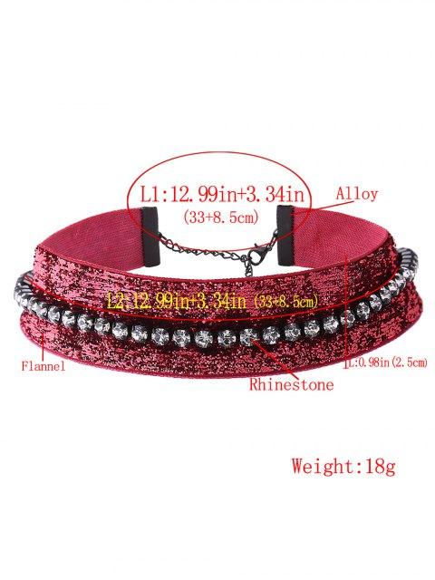 lady Velvet Rhinestone Choker - CERISE  Mobile