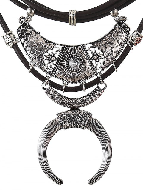 outfit Faux Leather Crescent Necklace - SILVER  Mobile