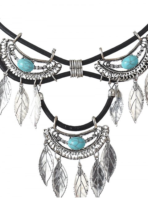 outfits Faux Turquoise Leather Leaf Necklace - CYAN  Mobile