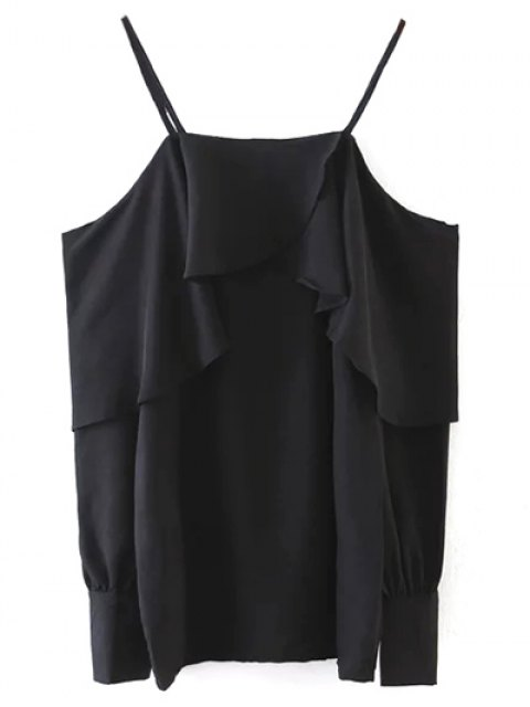 fashion Ruffled Slip Blouse - BLACK ONE SIZE Mobile