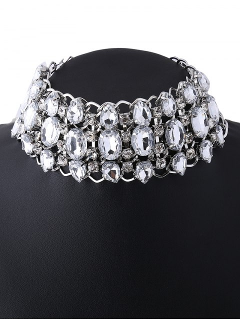 shops Wide Rhinestoned Hollow Out Choker -   Mobile