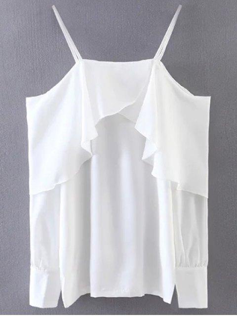 chic Ruffled Slip Blouse - WHITE ONE SIZE Mobile