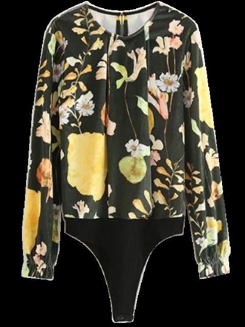 shop Floral Print Velvet Bodysuit - FLORAL L Mobile