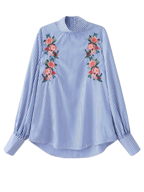 women's Floral Embroidered Striped Blouse - STRIPE S Mobile