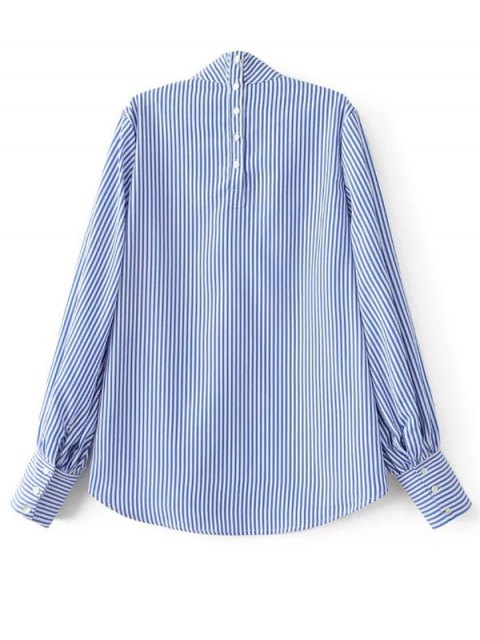 womens Floral Embroidered Striped Blouse - STRIPE L Mobile