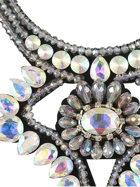 lady Faux Gem Ribbon Water Drop Necklace - COLORFUL  Mobile