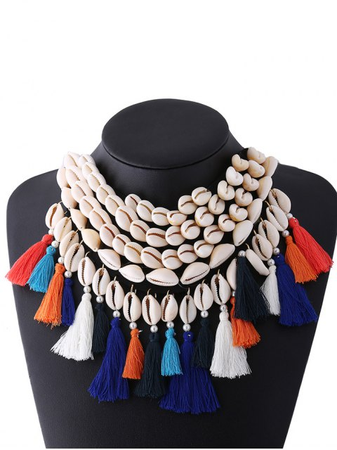outfit Ribbon Shell Tassel Necklace - WHITE  Mobile