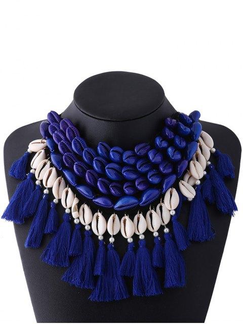 new Ribbon Shell Tassel Necklace - BLUE  Mobile