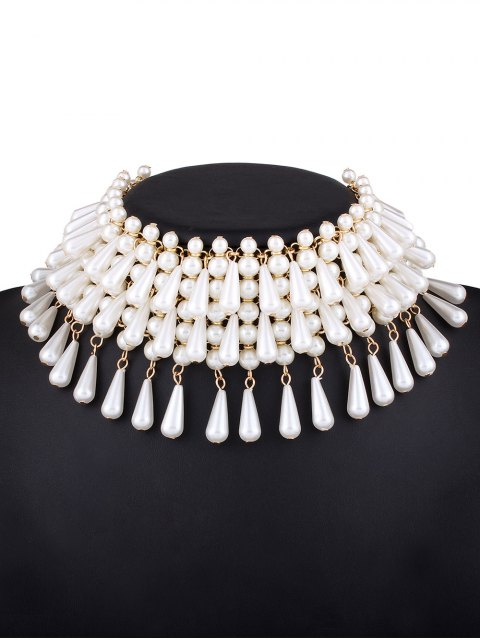 outfits Teardrop Faux Pearl Layered Necklace -   Mobile