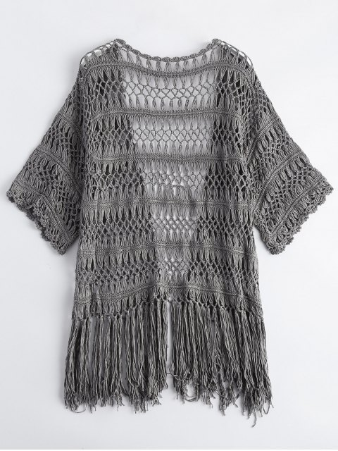 affordable Cut Out Fringed Open Front Cardigan - GRAY ONE SIZE Mobile