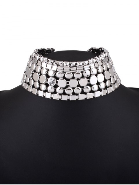 chic Alloy Polished Wide Necklace - WHITE  Mobile