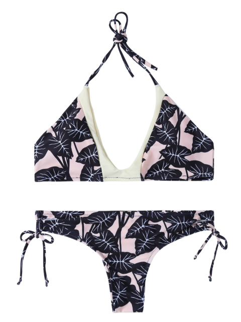 outfits Leaf Print Halter String Bikini - COLORMIX S Mobile
