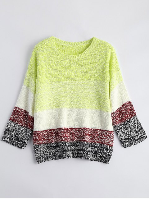womens Loose Color Block Sweater - FLUORESCENT YELLOW ONE SIZE Mobile