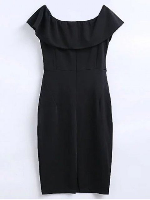 latest Off The Shoulder Ruffle Slit Work Dress - BLACK L Mobile