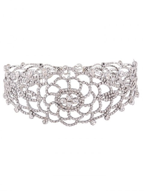 unique Hollow Out Rhinestoned Choker - WHITE  Mobile