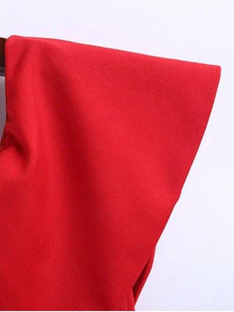 fancy Off The Shoulder Ruffle Slit Work Dress - RED M Mobile