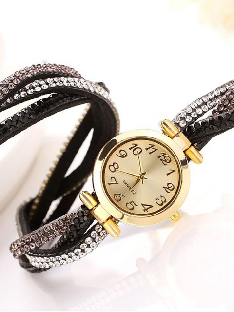 fancy Rhinestone Studded Wrap Bracelet Watch - BLACK  Mobile
