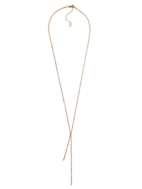 womens Rhinestoned Pendant Necklace - CHAMPAGNE  Mobile