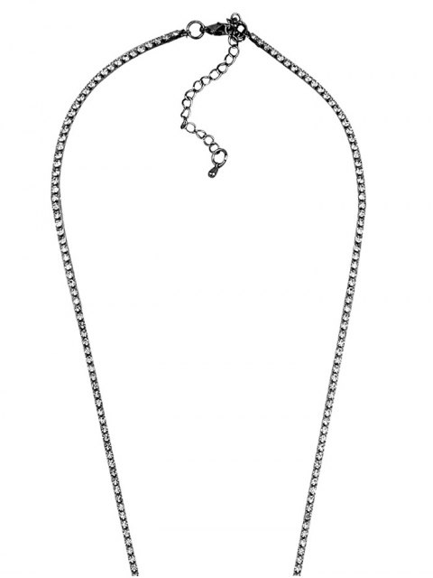 affordable Rhinestoned Pendant Necklace - GUN METAL  Mobile