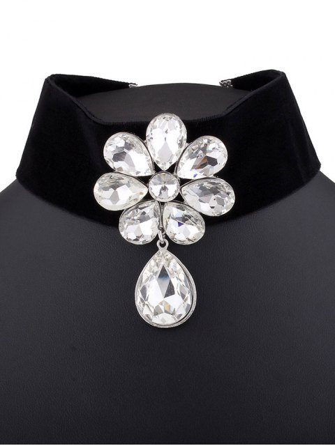 women's Velvet Rhinestone Floral Necklace -   Mobile
