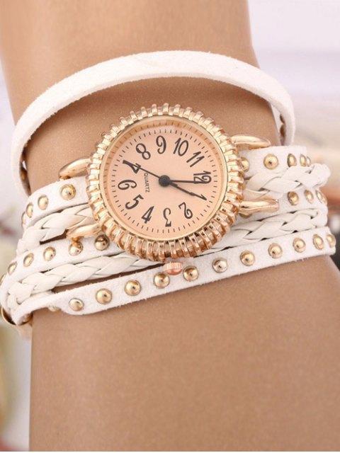 women's Rivet Studded Layered Bracelet Watch - WHITE  Mobile