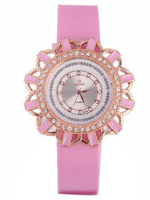 outfits Faux Leather Flower Quartz Watch - PINK  Mobile