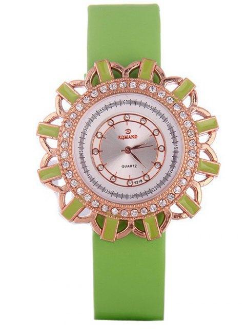 latest Faux Leather Flower Quartz Watch - GREEN  Mobile