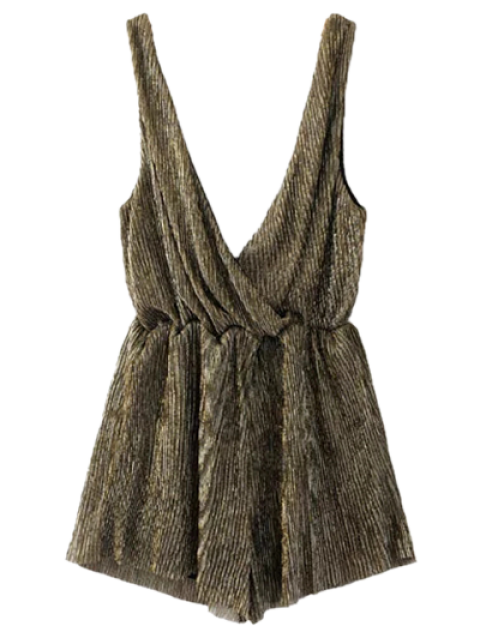 womens Low Cut Sleeveless Romper - BRONZE S Mobile
