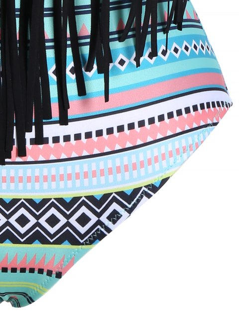affordable Tribal Print Plus Size Fringe Swimwear - COLORMIX 2XL Mobile
