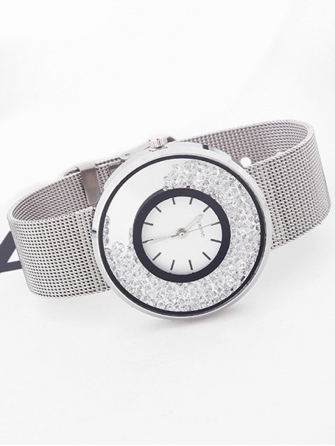 fancy Metal Mesh Rhinestone Quartz Watch - SILVER  Mobile