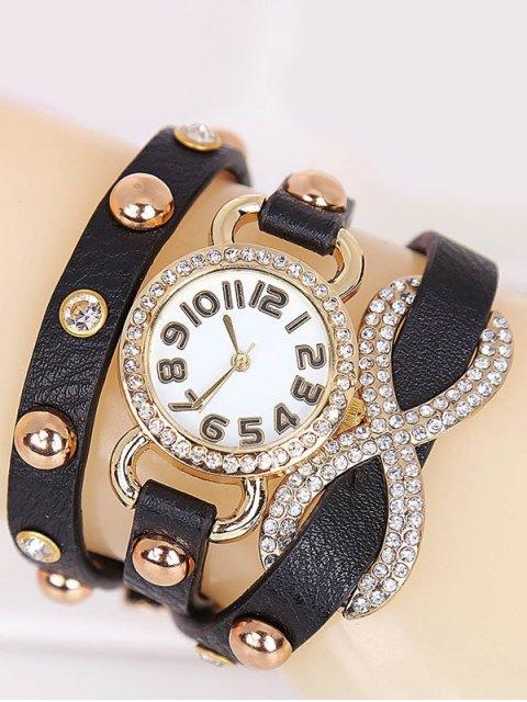 unique Rhinestone Infinite Wrap Bracelet Watch -   Mobile