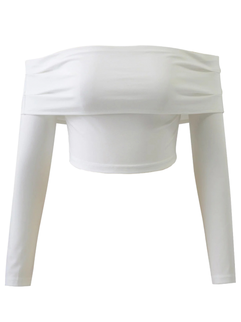 latest Long Sleeved Off The Shoulder Top - WHITE M Mobile