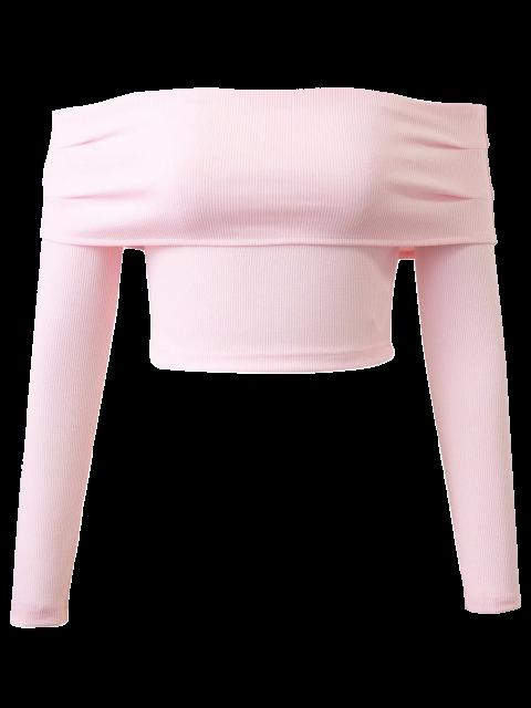 online Long Sleeved Off The Shoulder Top - LIGHT PINK L Mobile