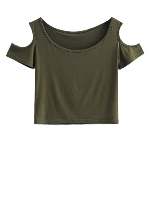 shop Cold Shoulder Crop Tee - ARMY GREEN S Mobile
