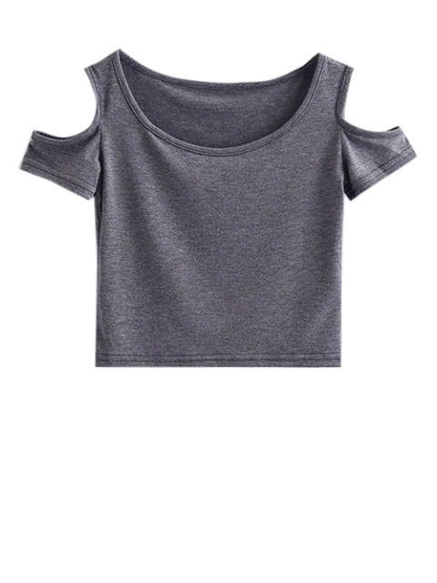outfit Cold Shoulder Crop Tee - GRAY S Mobile