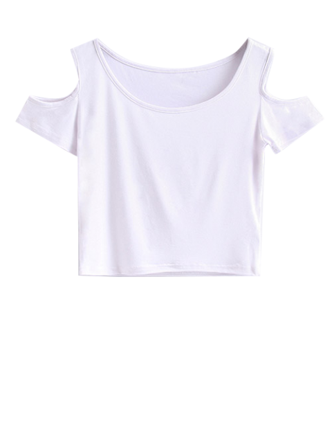 new Cold Shoulder Crop Tee - WHITE S Mobile