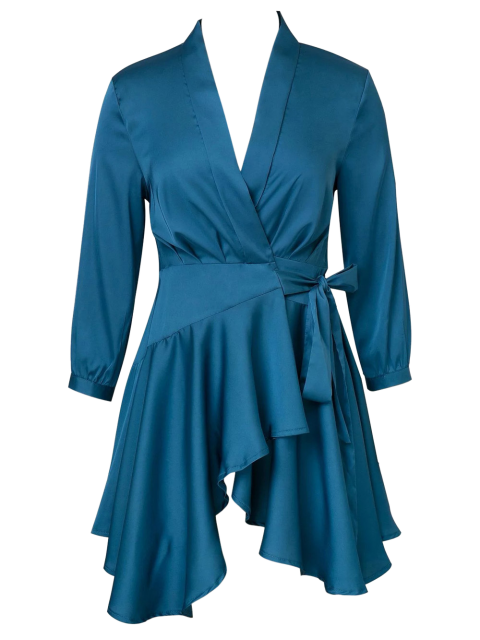 outfit Satin Wrap Robe Tea Dress - PEACOCK BLUE S Mobile