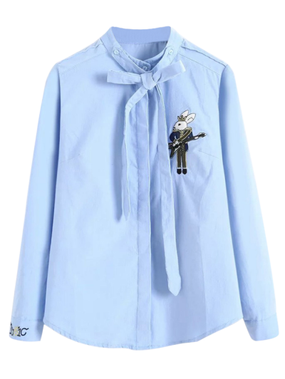 Patched Bowknot Shirt - BLUE M Mobile