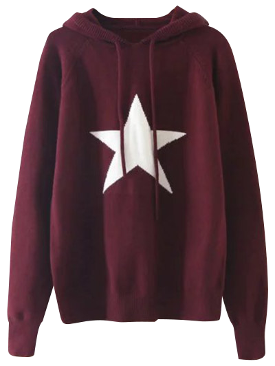 Hooded Star Graphic Sweater - RED ONE SIZE Mobile