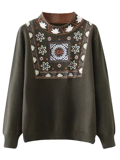 High Neck Graphic Sweater - ARMY GREEN ONE SIZE Mobile