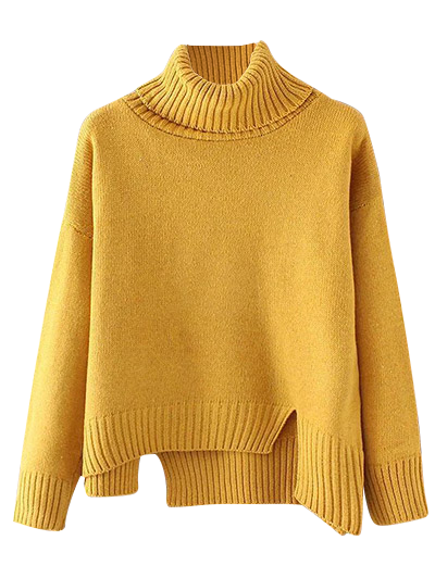 Side Slit Asymmetric Sweater - YELLOW ONE SIZE Mobile