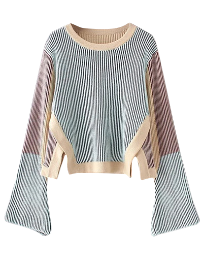 Striped Side Slit Sweater - BLUE ONE SIZE Mobile