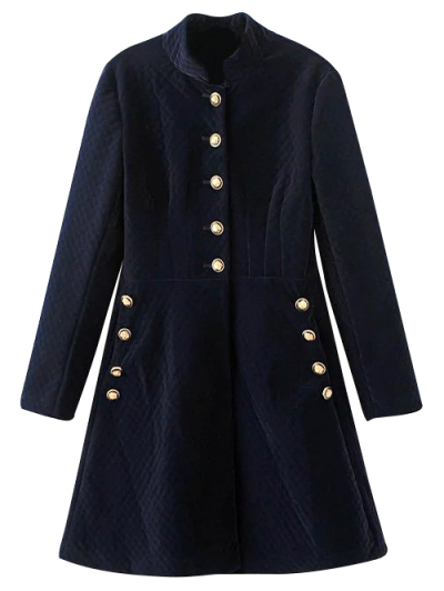 Single-Breasted Vintage A-Line Dress - PURPLISH BLUE S Mobile