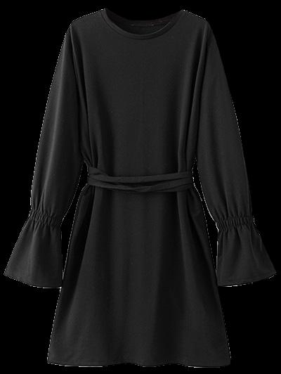 Bell Cuff Sleeve Tie Waist Dress - BLACK S Mobile
