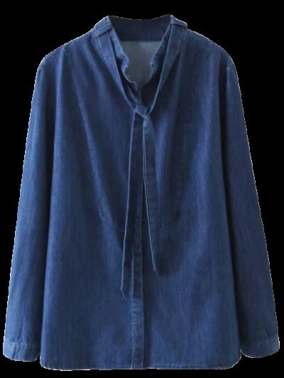 Tie Neck Denim Blouse - DENIM BLUE L Mobile