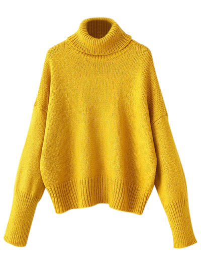 Roll Neck Oversized Jumper - YELLOW ONE SIZE Mobile
